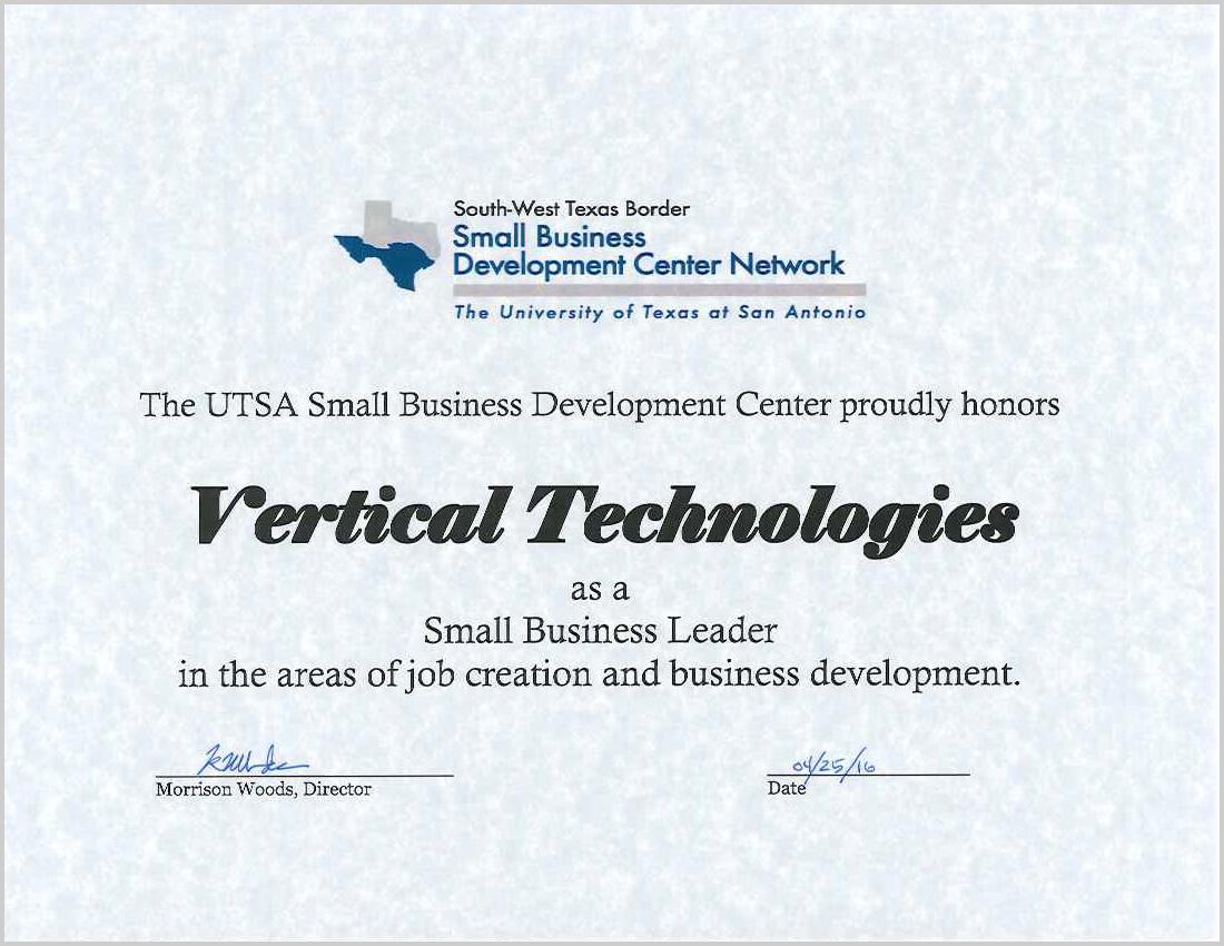 VerticalTechnologies_Certificate award