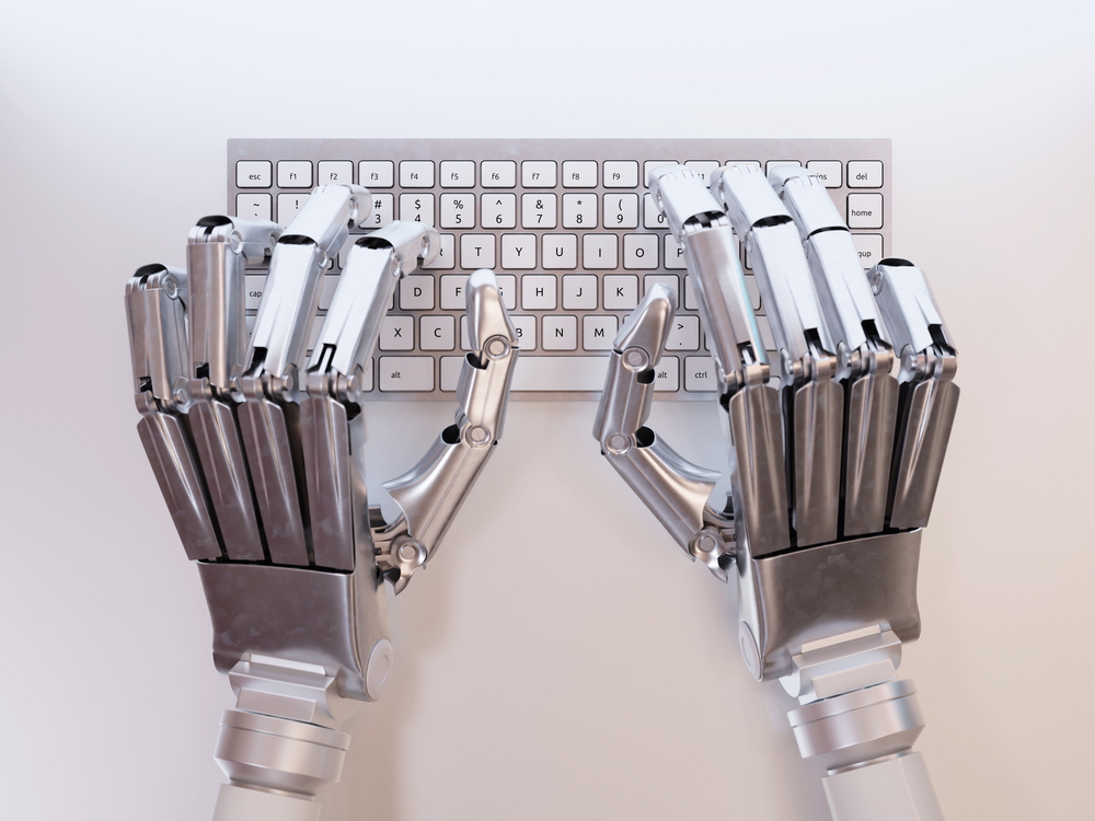 robot hands keyboard